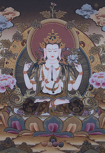 Tibetan Thangka painting of Four Arms Chenrezig
