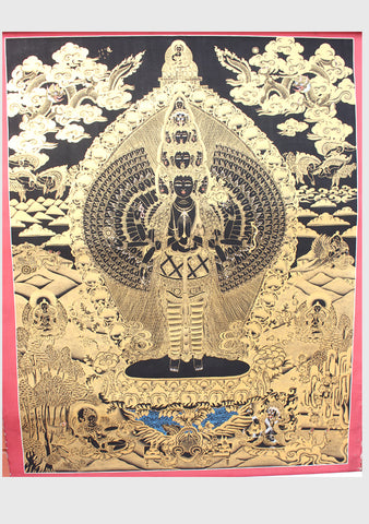 Tibetan Avalokiteshvara Gold Toned Thanka Paintings 32x25cm