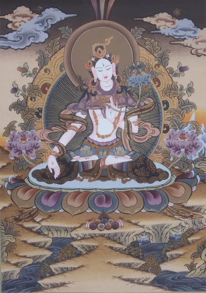 Beautiful Thangka of White Tara