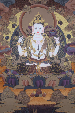Majestic Handpainted Chenrezig Thangka Painting