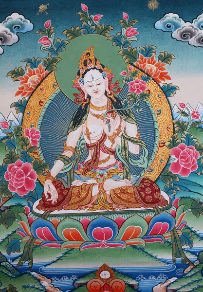 Beautiful Hand Painted Thangka of White Tara