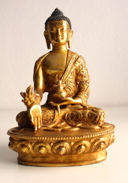 Dragon Carved Gold Plated Healing Buddha