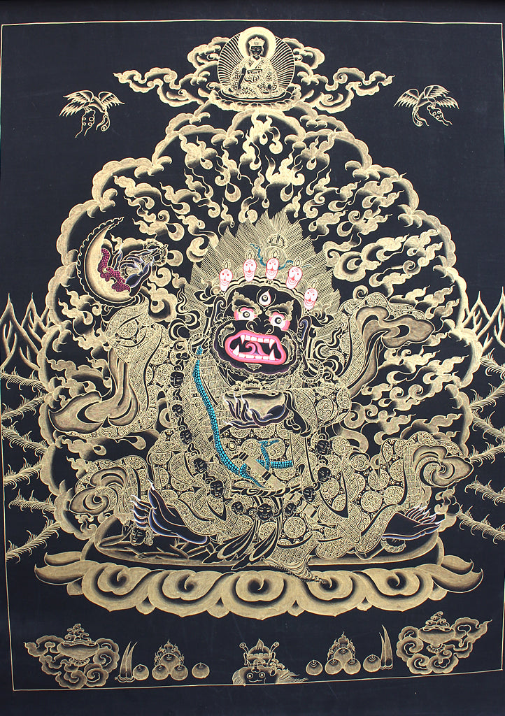 Black Mahakala Gold Toned Thangka Painting