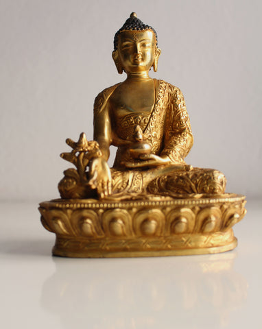 Flower Carved Gold Plated Menla Statue