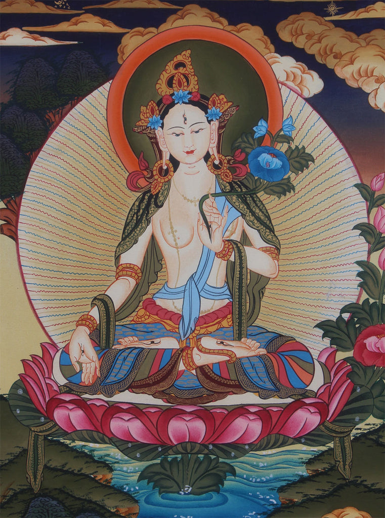 Mystical White Tara Thangka Painting