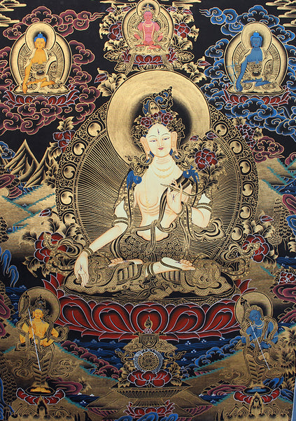 White Tara Thangka Painting with Blue Border 69x54 CM