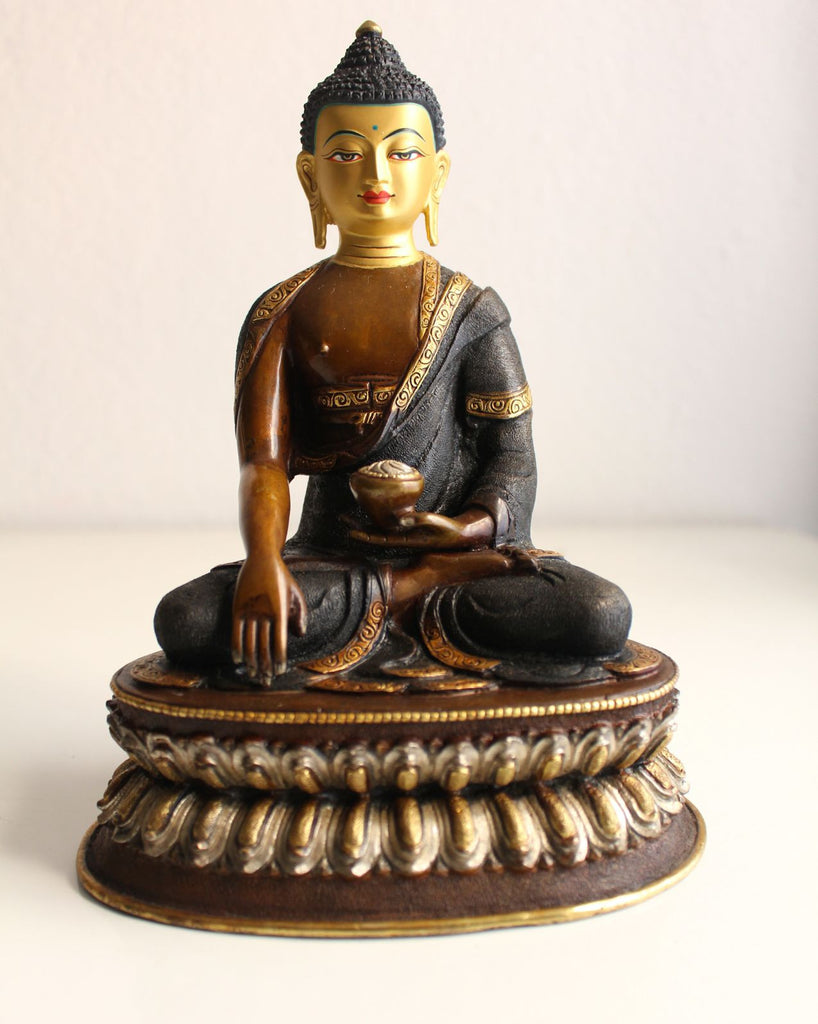 Black Dotted Buddha Statue 8 inch