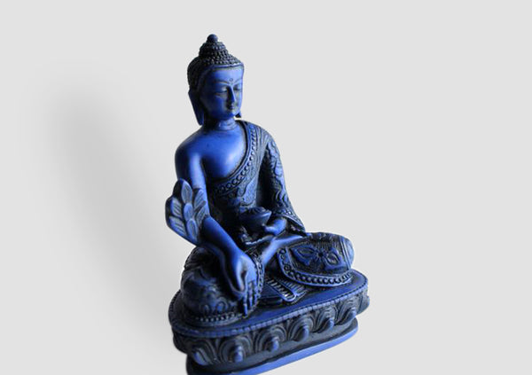 Dragon Carved Blue Medicine Buddha Resin Statue