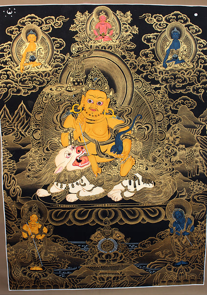 Black Jambala with Deities Thangka Painting