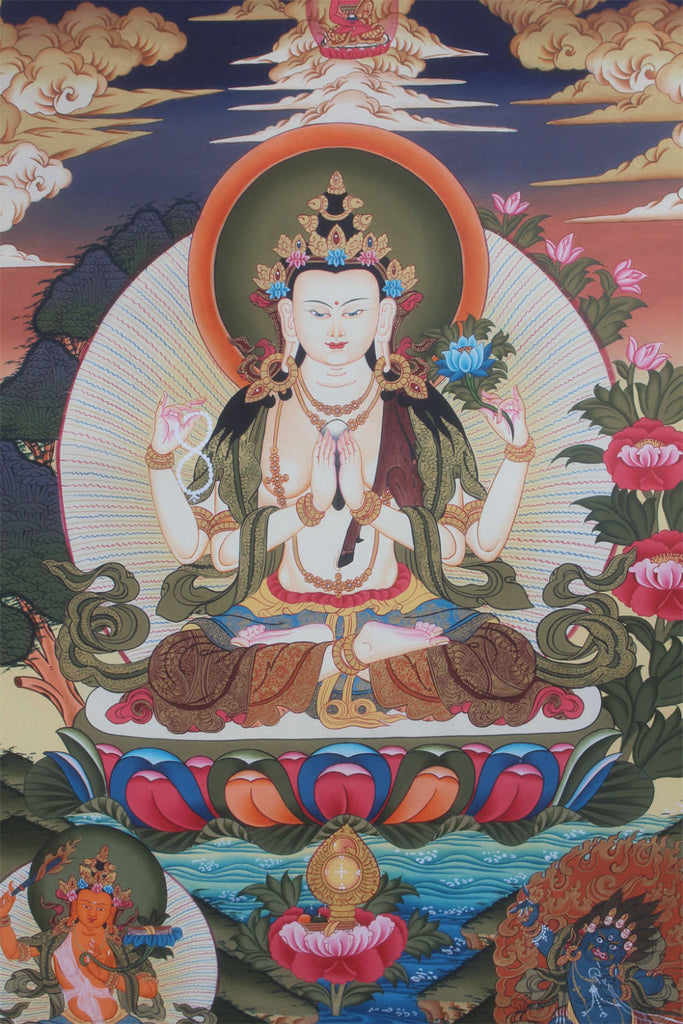 Chenrezig Thangka Painting-Avalokitesvara Canvas Thangka
