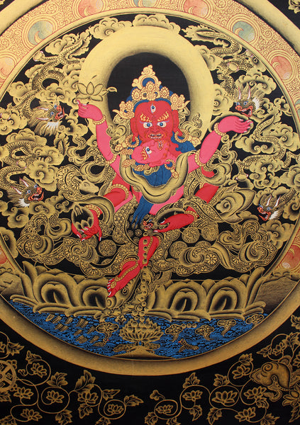 Jambala Shakti Thangka Painting with Red Border