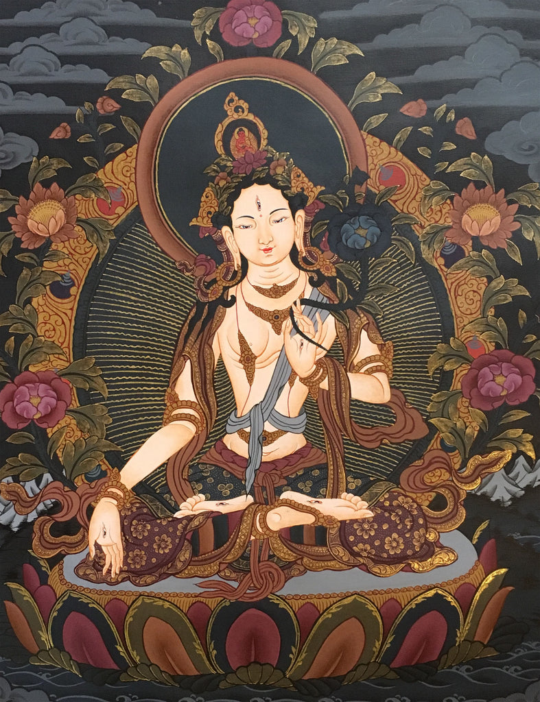 White Tara Thangka on a Black Canvas 55x40cm NTH61