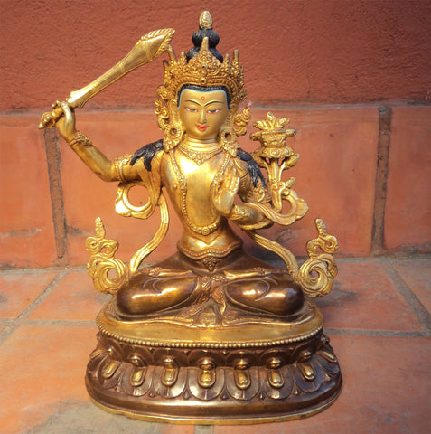 Partly Gold Plated Manjushri Statue 9 inch