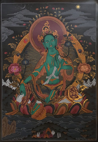 Green Tara Black Canvas Thangka 55x40cm NTH58