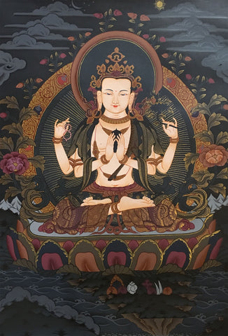 Chenrezig Black Canvas Thangka 55x40cm-NTH64