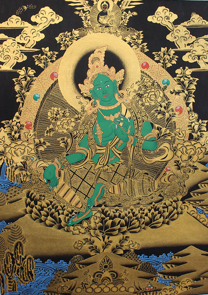 Green Tara Thangka Painting with Red Border