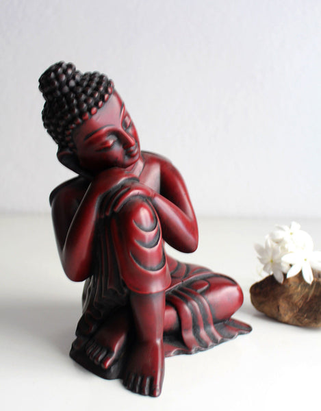 Coral Toned Resin Statue of Resting Buddha