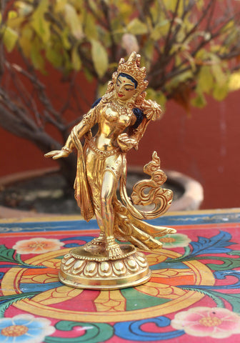 Dancing Tara Gold Plated Statue