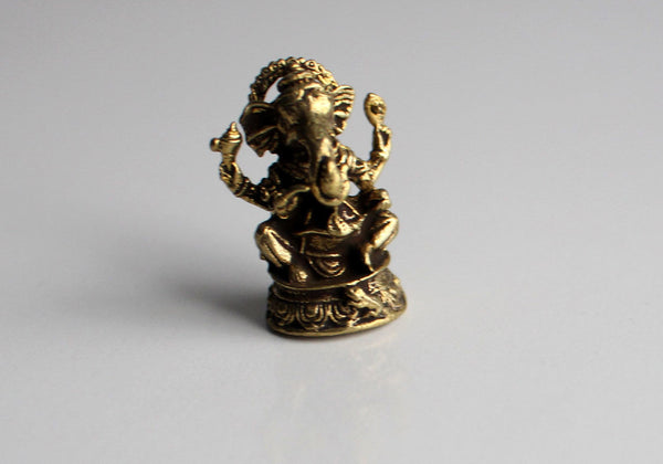Brass Mini Ganesh Statue with Parwa 10 Sets