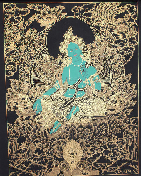 Gold Tone Green Tara Thangka