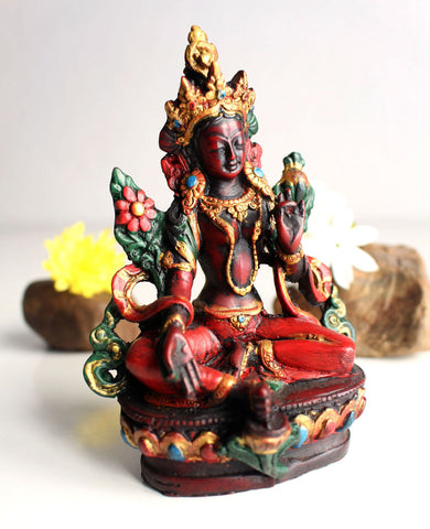 Resin Statue of Green Tara with Red Patina