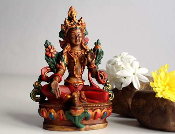 Beautiful Resin Statue of Green Tara 5 inch