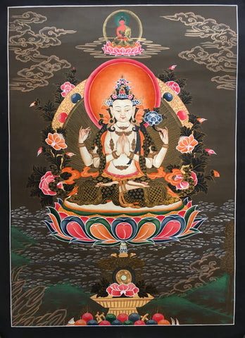 Peaceful Chenrezig Thangka-Avalokiteswora Thangka
