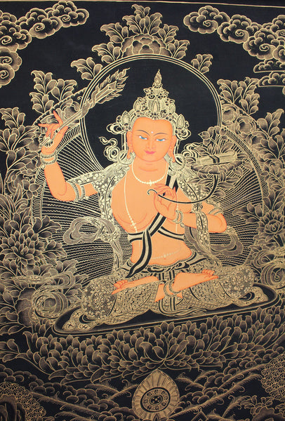 Golden thangka of Manjushri