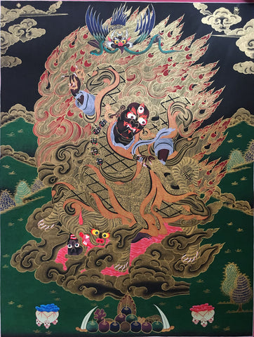 Golden Vajrapani Tibetan Thangka Painting