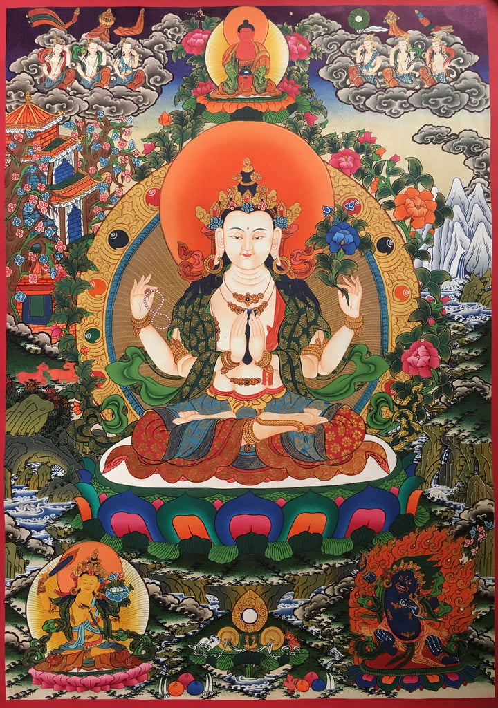 Meticulously Handpainted Chenrezig Thangka 54x48cm
