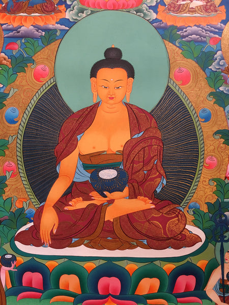Shakyamuni with Five Dhyani Buddha Thangka Art