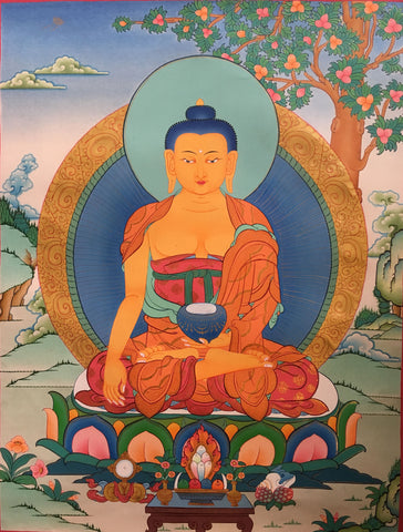 Peaceful thangka of Shakyamuni