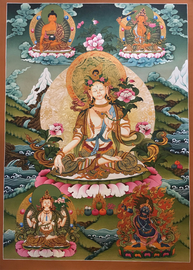 Heavenly Thangka of White Tara with Shakyamuni Buddha