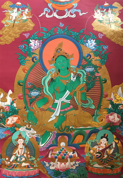 Green Tara Masterpiece Red Canvas Thangka