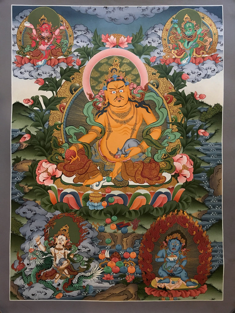Thangka of Zambala with Shaktis and Bodhisattvas