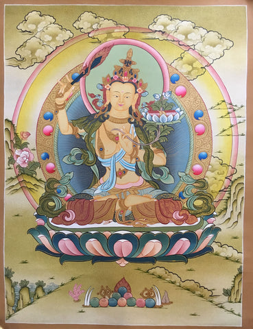Buddhist Manjushri Thangka Painting