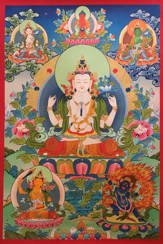 Hand Painted Chenrezig Thangka