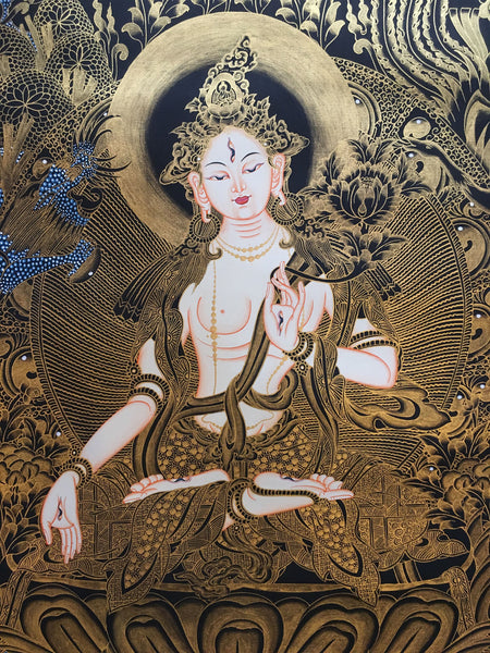 White Tara Gold Toned Thangka