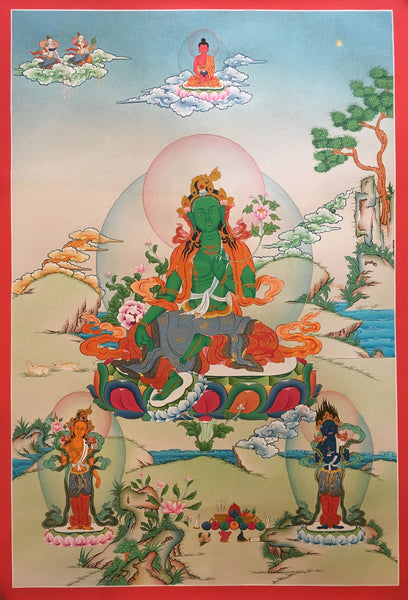 Artistic Green Tara Thangka