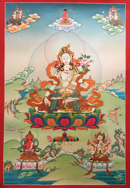 Hand Painted White Tara Thangka