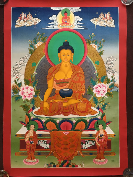 Thangka of Shakyamuni Buddha on a lion throne