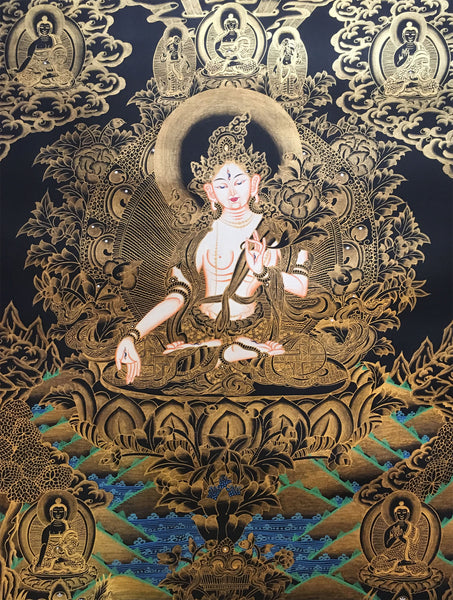 White Tara with Pancha Buddha Golden Thangka