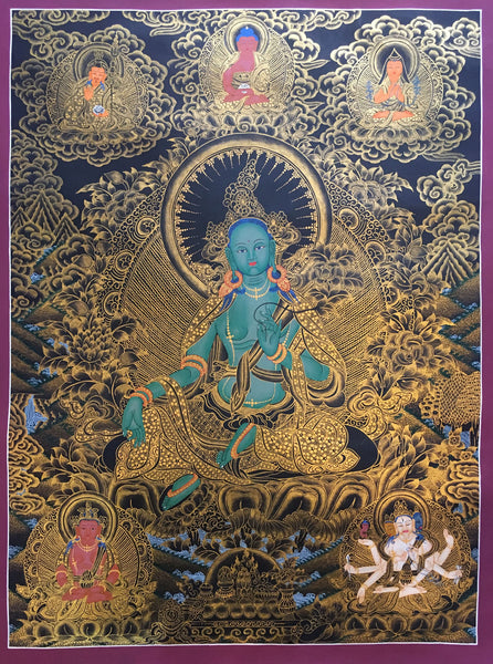 Green Tara with Pancha Buddha Golden Thangka