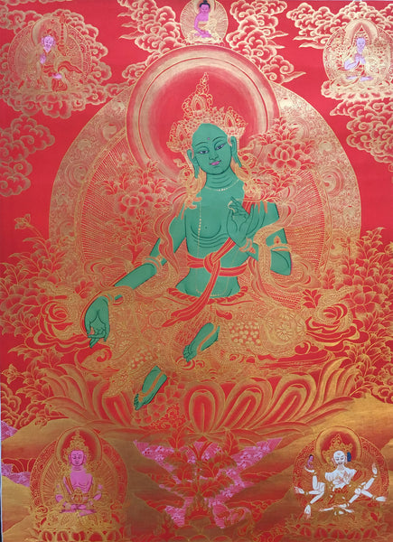 Golden Green Tara Thangka