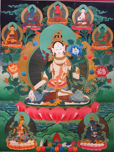Mystical White Tara Thangka Painting with Panch Buddha