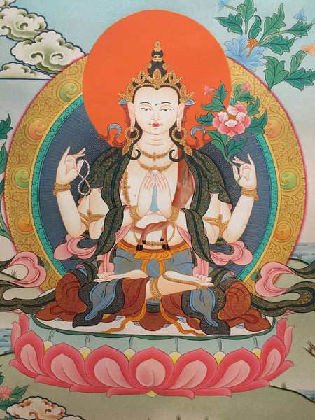 Majestic Chenrezig Thangka Painting
