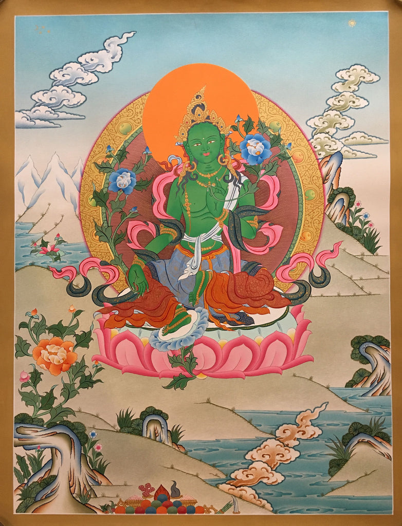 Heavenly Adobe of Green Tara Thangka