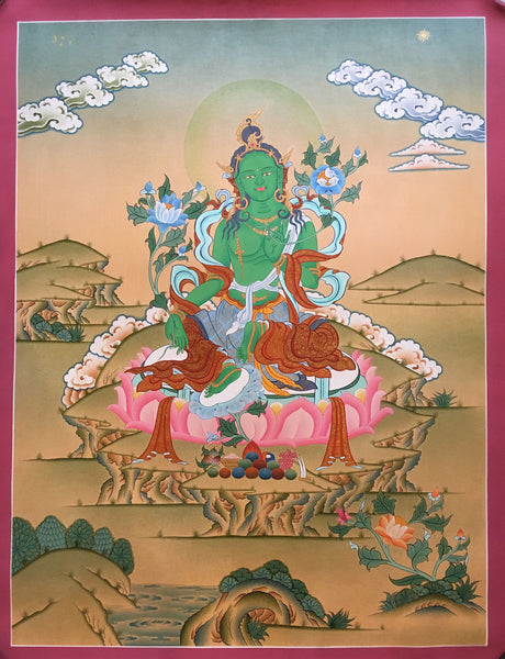Green Tara Thangka-Cotton Canvas