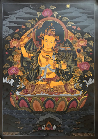 Manjushri Thangka on Dark Canvas