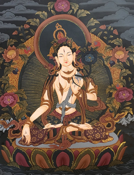 White Tara Thangka on a Black Canvas